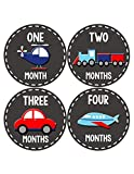 Months In Motion - Baby Month Stickers - Monthly Baby Sticker for Boys - Transportation (1095)