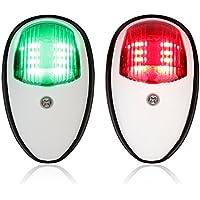 LEANINGTECH - Luces LED de navegación para barco y yate, 12V, de acero inoxidable, pontones y señales, color rojo y verde, White ABS Plastic
