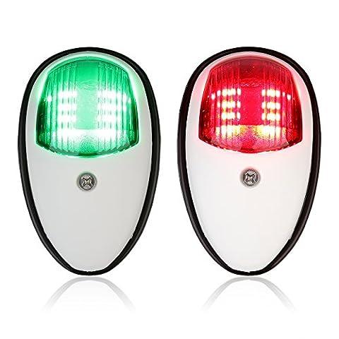 Leaning Tech 2pcs Bateau Marine LED Lampe Lanterne de Navigation, 12–24V Rod et vert LED pour bateau Pontoon Yacht Skeeter, Weiß