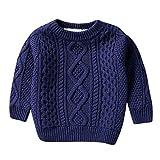 Happy Event Kinder Kinder Baby Mädchen Baumwolle warme Pullover Plüsch Pullover Feste Strickkleidung (Marine, 100)