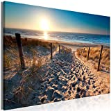 decomonkey | Mega XXXL Bilder Meer Strand | Wandbild Leinwand 160x80 cm Einteiliger XXL Kunstdruck zum aufhängen | Landschaft Natur Sonnenuntergang Sand