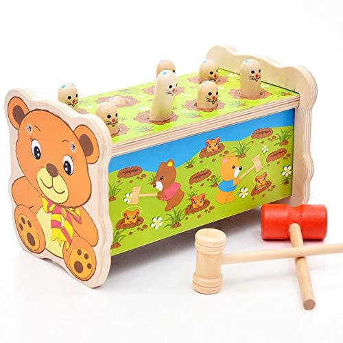 Rclhh Klassisches Holzspielzeug Bär Pounding Bench Holzspielzeug mit Hammer, niedlichen Gophers Stöpsel Bildungs Spielzeug mit Holzhammer