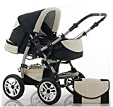 "14 teiliges Qualitäts-Kinderwagenset 2 in 1 ""FLASH"" in 38 Farben: Kinderwagen + Buggy - Megaset – all inklusive Paket in Farbe SCHWARZ-CREME"