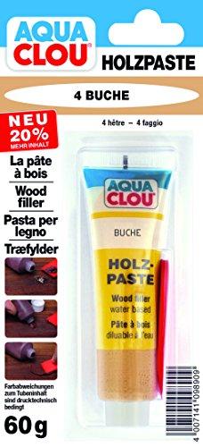 Clou Holzpaste zum Reparieren und Auskitten von Holzschäden buche, 60 g: Holz Spachtelmasse zum Ausbessern von Löchern, Dellen, Rissen in Möbeln, Türen, Parkett und Laminat – gebrauchsfertige Paste geeignet für den gesamten Innenbereich