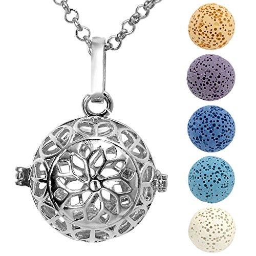JOVIVI Aromatherapie Ätherische Öle Diffusor Halskette Hollow Lotus Medaillon Locket Anhänger mit 5x Lavastein