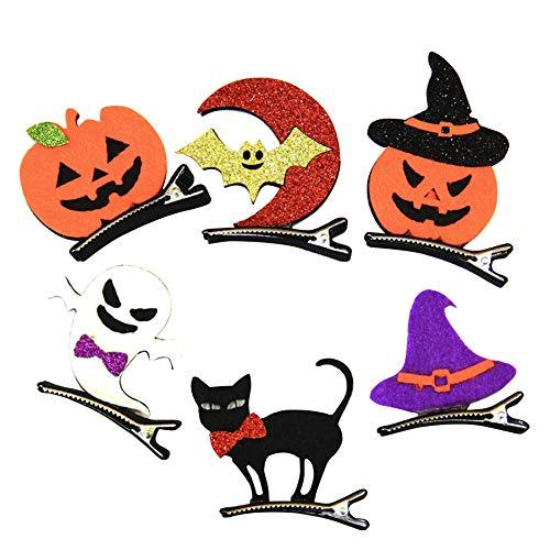 Mädchen Halloween Haarnadeln Mini Haarklammern Klammer Katze Kürbis Mond für Kinder Baby