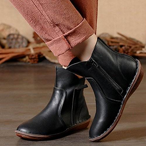 Vogstyle Femme Chaussures Bottes Indianini Col Taccl Low Style-3 Noir