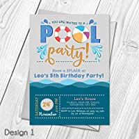Personalised Kids Swimming Pool Party Birthday Invitations Thank You Cards