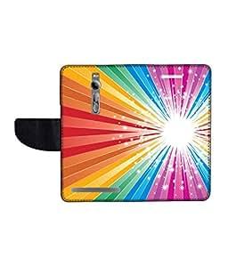 KolorEdge Printed Flip Cover For Asus Zenfone 2 Multicolor -(55KeMLogo12139Zen2)