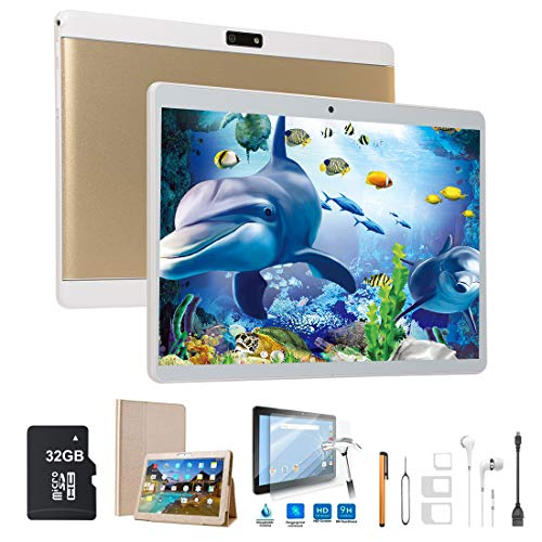 custodie tablet 10 pollici Tablet Android Tablet 10 Pollici 4G Wifi 64GB Memoria (32GB ROM + 32GB Scheda di Memoria Inclusa) 2GB RAM Netflix e Office Installati Dual SIM 8MP Fotocamera Voukou T5(Oro+32GB Scheda di Memoria)