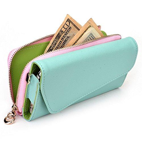 Kroo d'embrayage portefeuille avec dragonne et sangle bandoulière pour Samsung Galaxy Grand 2 Black and Orange Green and Pink