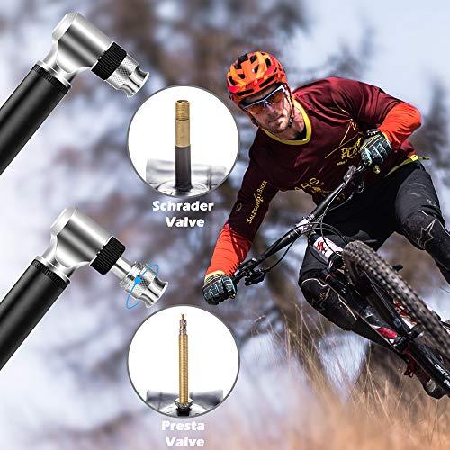 Diyife Bomba Para Bicicleta,  [300 PSI][Juego Completo] Mini Bomba De Bicicleta Bomba de Mano con Aguja,  Montura de Marco Perfecto para el Anillo de Natación Inflable en Globo para Presta y Schrader