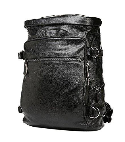 insum hommes de Casual Sac à dos en cuir véritable Noir - noir