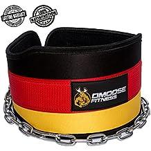 """Premium Dip Belt con cadena de DMoose Fitness - Cadena de acero resistente de 36 """", Neopreno de ajuste cómodo, doble costura - Maximice sus entrenamientos de levantamiento de pesas y culturismo con duradero Dipping Belt (Universal, Germany Flag)"""