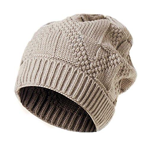 Youson Girl® Unisex Schädel Hut Männer und Frauen Reversible Slouchy Beanie Hut Stricken Wolle Mode Pom Winter Hut (beige) (Stricken Reversible Hut Winter)