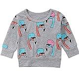 Kinderbaby-Mädchen-Lange Hülsen-Flamingo-Druck-T-Shirts Sweatshirt-Strickjacke-Pullover (Grau, 4-5 Year)