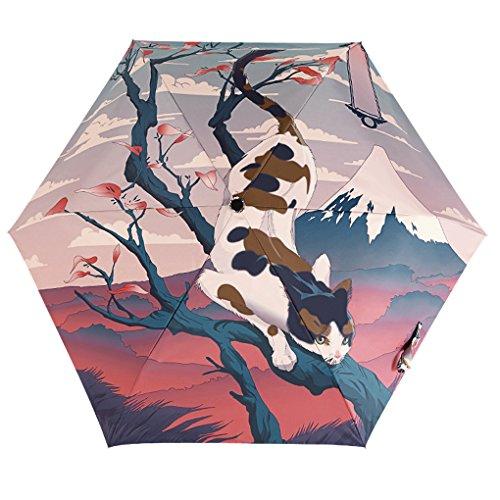BaoCore Parapluie Pliant Femme Parapluie de Golf Résistant Au Vent Anti-UV Soleil Pluie Anti-Rayonnement Automatique Parapluies de Voyage Pliable Compact 6 baleines 190T tissu Japonais Chat