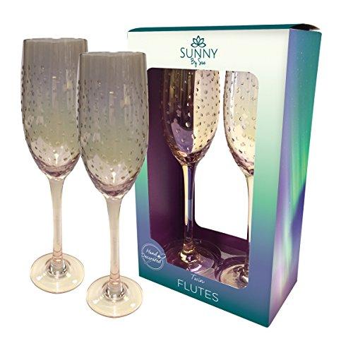 Sunny von Sue Hand verziert Twin Paar Champagner Flöten Glanz Rose Gold Klar Dots Rosen Flöten