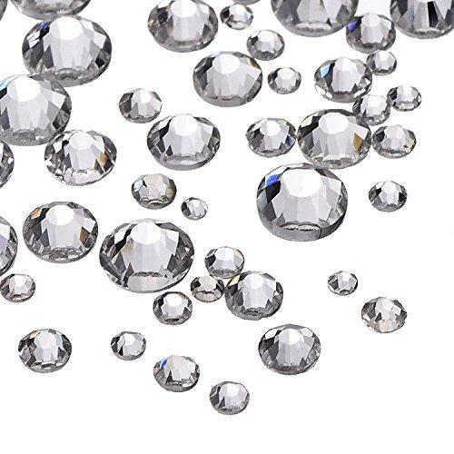 2000 Stücke 5 Größen Klare Flache Rückseite Kristall Strasssteine Runde Edelsteine 1,5-5 mm