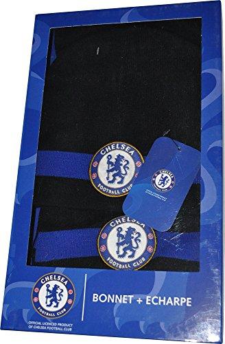 Chelsea FC 1341499cfc-set-001Fútbol bufanda + gorro, negro/azul, FR: Talla unique (talla fabricante: Talla unique)