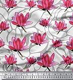 Soimoi Weiß Georgette Viskose Stoff Lotus Blumen- gedruckt