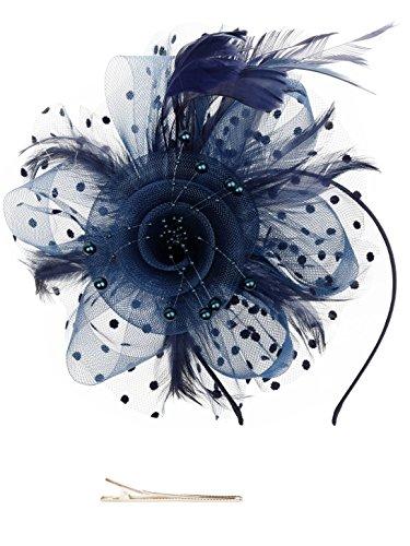 Fascinators Hut Blume Mesh Bänder Federn auf einem Stirnband und einem geteilten Clip Cocktail Tea Party Headwear für Mädchen und Frauen (Halloween-stirnbänder)
