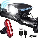 MUTANG Fahrrad Licht mit Horn, USB aufladbare LED Fahrradbeleuchtung, LED Fahrrad Licht Set Frontscheinwerfer und Rücklicht, wasserdichte Fahrradbeleuchtung für Road & Mountain (Farbe : Blau)
