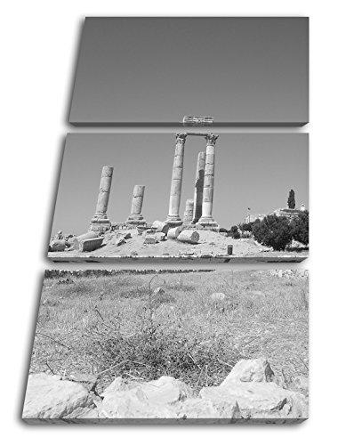 deyoli alte Ruine in Jordanien Effekt: Schwarz/Weiß Format: 3-teilig 120x80 als Leinwandbild, Motiv fertig gerahmt auf Echtholzrahmen, Hochwertiger Digitaldruck mit Rahmen, Kein Poster oder Plakat