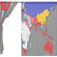 jstel 2pezzi Voile tenda di finestra, Fashion Mappa storica Impero Britannico, Tulle Sheer Curtain Drape Valance 139,7x 198,1cm Set di due pannelli, Poliestere, Blue,