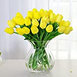 Amkun 10pcs Realistic PU Artificial Holland Tulip Flowers Life-like Faux Bouquet Arrangements for Home Kitchen Living Room Dining Table Wedding Centerpieces Decorations (Yellow)