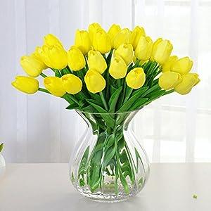 Amkun – Ramo de tulipanes sintéticos realistas, fabricados en poliuretano para adornar el hogar, cocina, salón, mesa de…