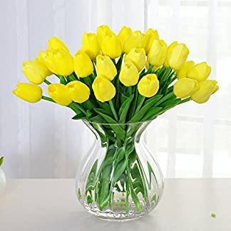 Amkun – Ramo de tulipanes sintéticos realistas, fabricados en poliuretano para adornar el hogar, cocina, salón, mesa de comedor, boda y decoración, 10 unidades