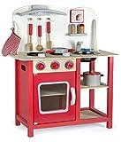 Leomark Rouge Cuisine Classic Cuisine en Bois Jeu d'imitation Cuisine avec accessoires, Horloge, Bon appétit Tableau Cuisinière Éducatif Chef Neuf