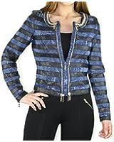 #900 Damen Designer Jeans Jacke Jeansjacke Goldborte Kunstleder 34 36 38 40 Blau Schwarz