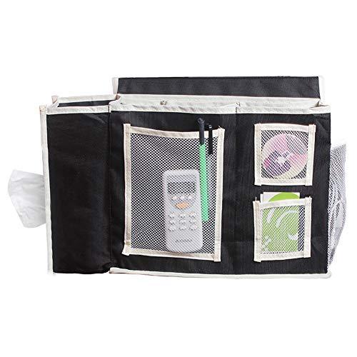 Schwarze Geraffte Tasche (QEES SND10 Nachttisch für Laptop, mehrere Taschen, Nachttisch, Schrank, Aufbewahrung, Organizer mit Tablets, Magazin, Telefon für Kopfteil, Bettleisten, Schreibtisch, Couch Schwarz)