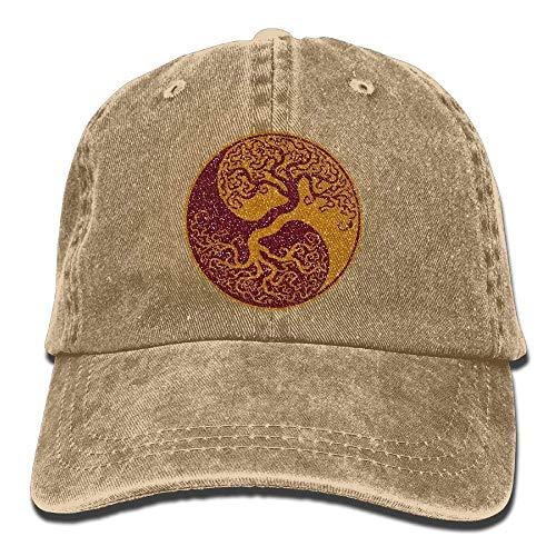 Glitter Yin Yang Bonsai Tree Japanese Classic Unisex Baseball Cap Adjustable Washed Dyed Cotton Ball Hat Black EE396