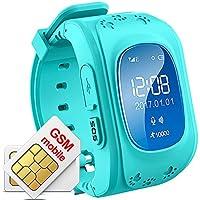 Hangang Rastreador GPS para niños Smartwatch Niños Anti-erra SOS Calling Buscador de niños a prueba de agua Rastreo en tiempo real, reloj Smart Kids Compatible con teléfonos inteligentes (Azul)