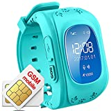 Hangang GPS Smart Watch Locator localisateur GPS Tracker for Child (Blue)