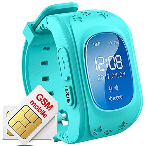 Hangang - Reloj de rastreador GPS para niños, Resistente al Agua, Reloj...
