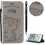 iPhone 6 Plus Hülle,iPhone 6S Plus Case Leder,WIWJ Prämie PU Klapphülle Leder Brieftasche[Impressum Cat Love Fish Handy Case]Schutzhülle für iPhone 6 Plus/iPhone 6S Plus-Grau