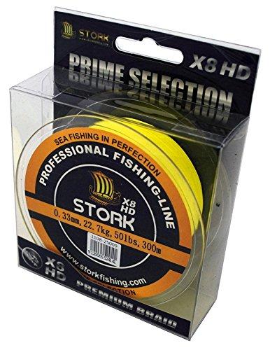 Stork HDx8, 8-Fach geflochtene premium Angelschnur 300m (Gelb, 10 lbs / 4.5 kg / 0.10 mm)