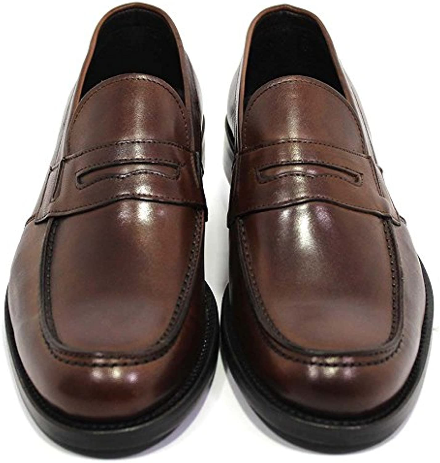Zapatos de Hombre Made In Italy Mod. Loafers Mazzini Brown TG 43