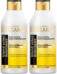 Dessange - Blond Soleil Éclaircissant Shampooing Nutri-Ensoleillant Pour Cheveux Blonds Naturels - 250 ml - Lot de 2