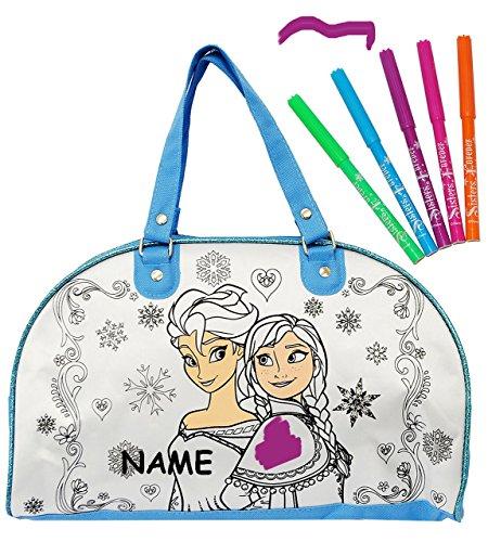 """"""" Disney die Eiskönigin - Frozen """" - Bastelset zum Bemalen - für Tasche / Sporttasche / Tragetasche - abwischbar groß + mit 5 Textilstifte - Kindertasche Tasche Stoff - für Mädchen - völlig unverfrore"""