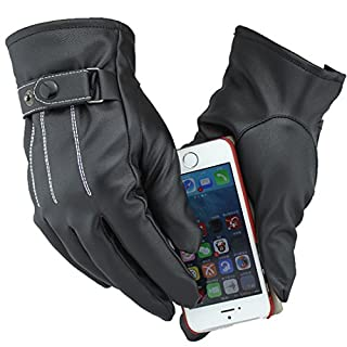 A-SZXCTOP Fashion Men PU Leather Gloves Outdoor Cycling Winter Warm Full Finger Touchscreen Gloves for Smart Phone