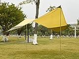 GEERTOP Sonnensegel Tarp Außenzelt Wasserdicht 4-7 Personen für Camping - 440x410 cm (2,1 kg) - Inklusiv Zeltstangen (Gelb) -