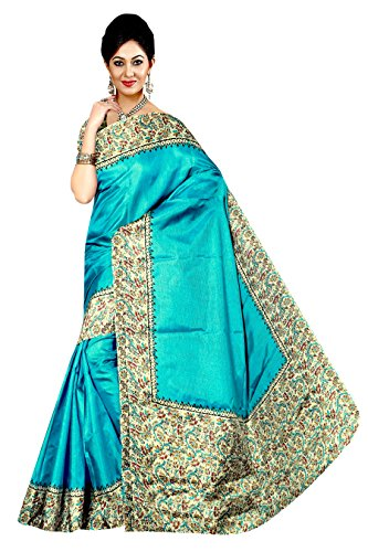 Winza Designer Cotton Saree With Blouse Piece (MANIPURI 11004_Traditional Sky Blue_Free)