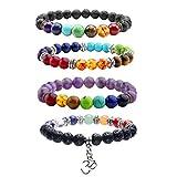 JOVIVI 4X Lava-Armband Reiki-Energietherapie Yoga-Armband Tigerauge 7 Stein Chakra Healing