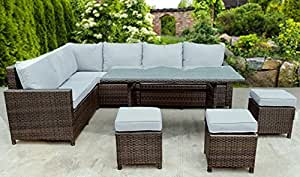 Bigzzia Rattan Effect 9 Seater Garden Corner Sofa with Cushions