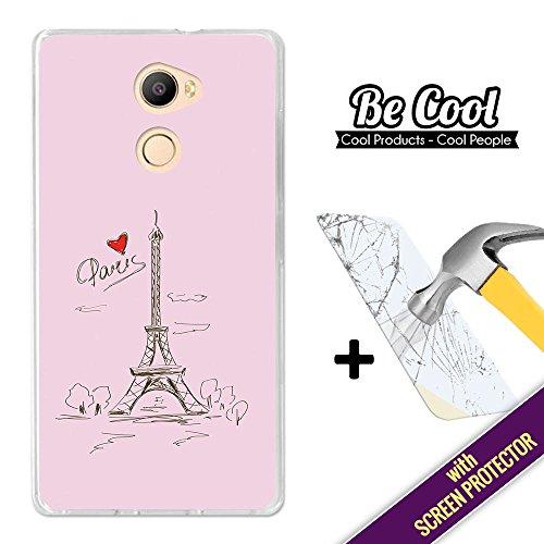 Becool® - Funda Gel Flexible para Elephone C1, [ +1 Protector Cristal Vidrio Templado ], Carcasa TPU fabricada con la mejor Silicona, protege y se adapta a la perfección a tu Smartphone y con nuestro exclusivo diseño. Dibujo Torre Eiffel.